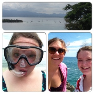 Photo 1: We swam the path where the boats are, from the small island on the right to the town. Photo 2: Me, in my snorkelin' gear. Photo 3: Elisabeth and me on lighthouse side of the island